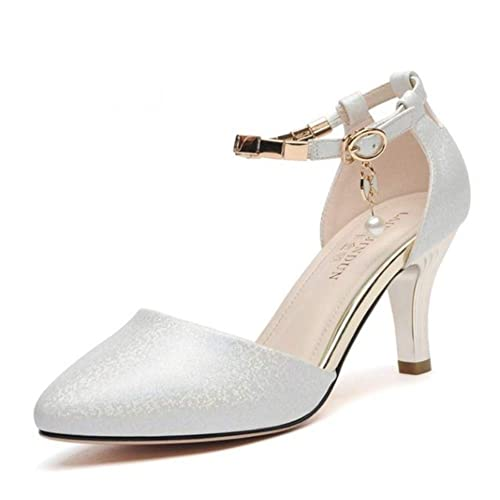b12c3e5a uirend Mujer Zapatos de Tacón - Correa del Tobillo Partido Sandalias Punta  Puntiaguda Hebillas Bombas Frote