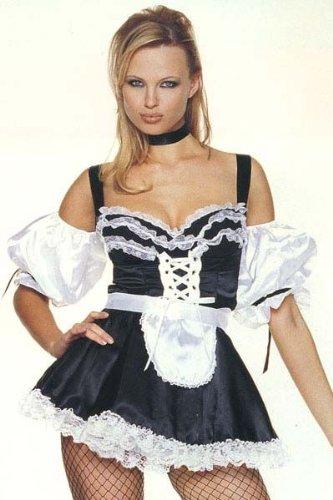 Leg Avenue Maid Costumes - Leg Avenue Women's Sexy French Maid Dress, Black/White, X-Large