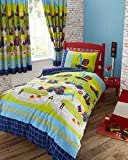 Kids Club Boys Diggers Trucks Duvet/Quilt Cover Set, Navy Blue/Green, Double