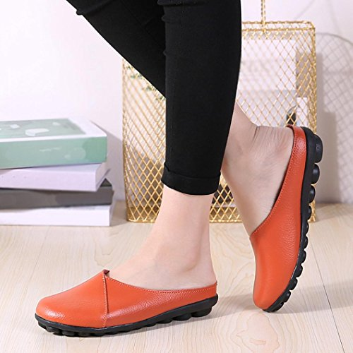 VEMOW Sandals for Women Girls Ladies 2018 Spring Summer UK for Work Office Home Black White Yellow Red Blue Coffee Flats Pure Color Soft Bottom Soft Slip-On Casual Boat Shoes Orange 4BiFo2Hm