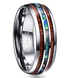 Vakki 8mm Hawaiian Koa Wood and Abalone Shell Tungsten Carbide Rings Wedding Bands for Men Comfort Fit Size 16