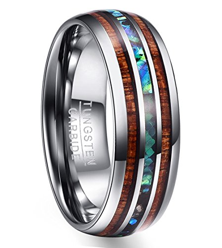 VAKKI 8mm Hawaiian Koa Wood and Abalone Shell Tungsten for sale  Delivered anywhere in USA