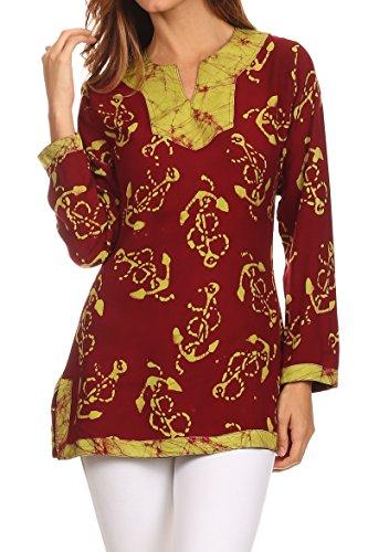 Sakkas 4037 - Callie Anchor Long Sleeve Cotton Tunic Blouse - Burgandy / Green - XL