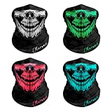 OLARVEO Breathable Seamless Tube Skull Face Mask, Dust-proof Windproof Motorcycle Bicycle Bike Face Mask for Cycling Hiking Camping Climbing Fishing Hunting Motorcycling (4 Pcs-Set B)