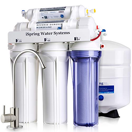 (iSpring RCC7 High Capacity Under Sink 5-Stage Reverse Osmosis Drinking Filtration System and Ultimate Water Softener, White)