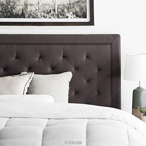 LUCID Upholstered Headboard Diamond Tufting, King/California King, Charcoal