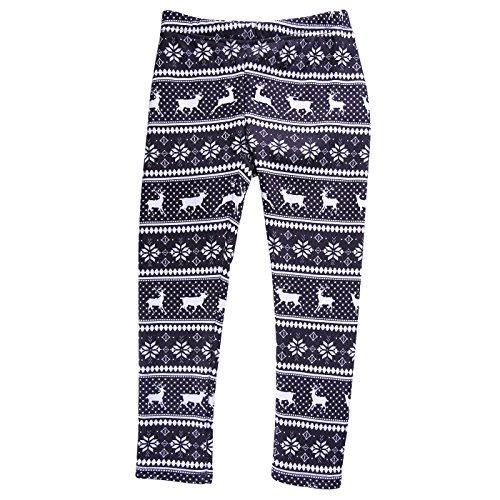 HDE Girls Fleece Winter Knit Leggings Kids Nordic Stretch Pants Footless Tights Black White Reindeer Snowflakes Medium   7 8