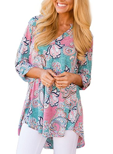 [Dokotoo Womens Summer Elegant Ladies Long Sleeve V Neck Print Tunic Blouses and Shirts Under 20 Blue X-Large] (Long Sleeve Print Tunic)