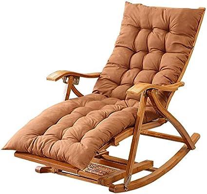 Tumbona aire libre silla de bambú plegable de jardín Sillón mecedora tomar el sol Relax silla con reposapiés y una silla de masaje piernas estirable Entretenimiento Siesta, con Mat(Color, Gris),marrón