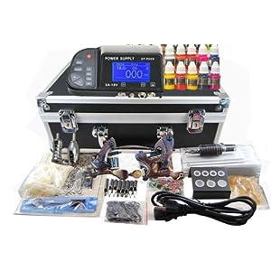 TOP PRO LEVEL Digital Complete Tattoo Kit Machine 2 Damascus steel Handmade Guns 40 Inks