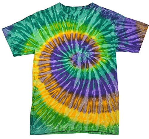 Buy Cool Shirts Tie Dye Shirt Multi Color Mardi Gras Swirl T-Shirt XL ()
