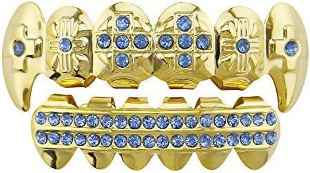 Top Bottom Tooth Caps für den Mund Bunter Strassvergoldeter Hip Hop-Zahngrill - hochwertiger Schnitt für alle Arten von Zähnen - oberer und unterer Grillsatz - Hip Hop-Bling (Farbe : Blau)