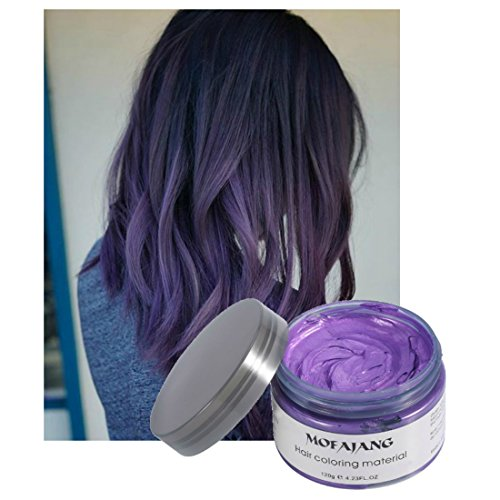 Vakker Hair Wax Color Styling Cream Mud, Natural Hairstyle Dye Pomade, Party Cosplay, Purple