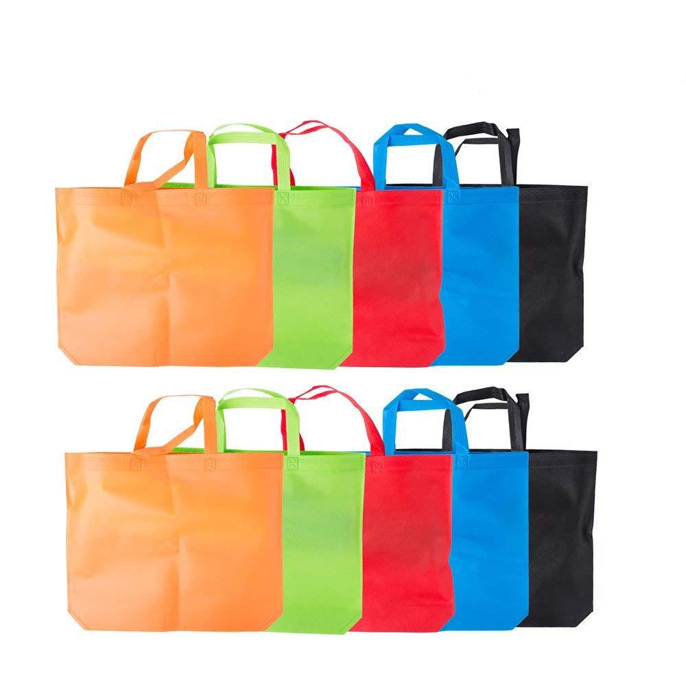 日本最大級 lazyme Reusable Groceryバッグ、10のセット x、ラージトートバッグ、バッグ、商品18 x 14 Reusable B071P5Z4SN x 4インチMulticolors B071P5Z4SN Multicolors Multicolors, Trendy DECO:0cb71ae5 --- vezam.lt