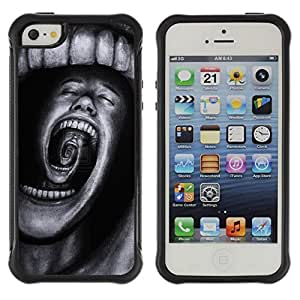 LASTONE PHONE CASE / Suave Silicona Caso Carcasa de Caucho Funda para Apple Iphone 5 / 5S / Teeth Horror Terror Black Spooky