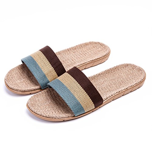 SPO4u - Unisex Four Season Stripes Linen Skidproof Indoor Cotton Flax Flat House Slippers Gary 42-43