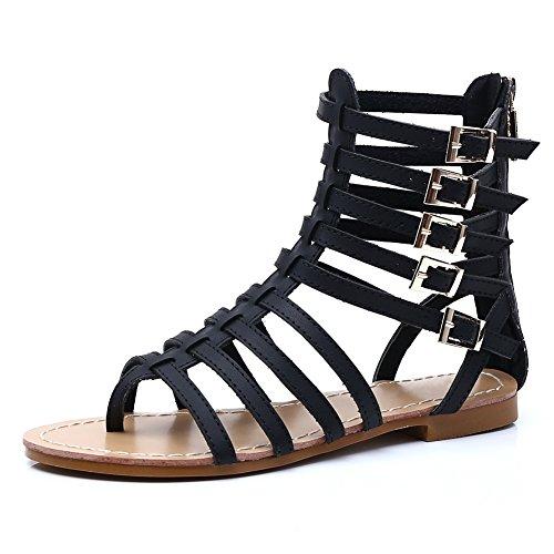 fereshte Ladies Women Summer Cut Out Gladiator Strappy Flat Sandals Chelsea Boots Black