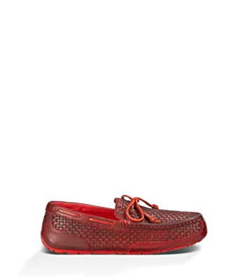 Mens UGG Chester Woven Slippers Matador Red Leather UXI19028