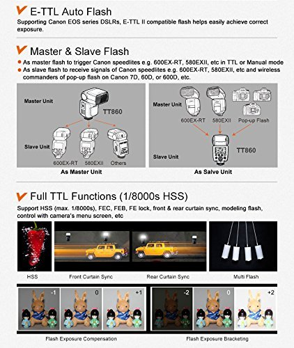 Neewer TT860LI-ION BATTERY Speedlite Flash E TTL Camera Flash for Canon 5D Mark 2 3 6D 7D 70D 60D 50D Digital Rebel T3 SL1 T5i T4i T3i Xti XT / EOS 1100D 100D 700D 650D 600D 400D 350D and other Canon Ditial SLR Cameras -650 Full Power POPS with Single Li-ion Battery! 1.5s Recycle Time