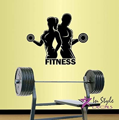 Wall Vinyl Decal Home Decor Art Sticker Silhouette Fitness Word Sign Strong Woman Girl and Man Emblem Sports People Work Out Power Lifting Exercises Athletic Gym Room Removable Stylish Mural Unique Design For Any Room Creative Design Logo House