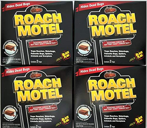Black Flag 8 traps Roach Motel Cockroach Killer bait Glue