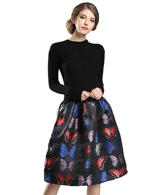 YiJee Mujer Manga Larga Cuello Redondo Elasticidad Vestidos Invierno Atractivo Vestido de Mariposa Imprimir M