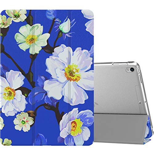 """MoKo Case Fit New iPad Air (3rd Generation) 10.5"""" 2019/iPad Pro 10.5 2017, Slim Lightweight Smart Shell Stand Cover with Translucent Frosted Back Protector (Auto Wake/Sleep) - White Flower On Blue"""