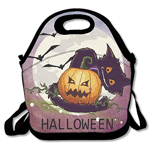 (Avagea Halloween Pumpkin And Cat Lunch Picnic Bag Lunch Box Waterproof Lunch Tote with Zipper Strap For Most)