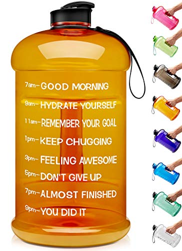 Venture Pal Large 1 Gallon/128 OZ & 74 OZ Motivational Leakproof BPA Free Water Bottle with Time Marker Perfect for Fitness Gym Camping Outdoor Sports-1Gallon-Orange