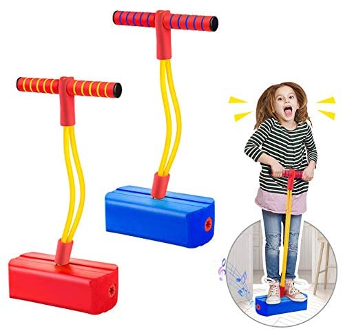 2 Pack Foam Pogo Stick Bungee Jumper for Kids Outdoor Toys, Foam Bouncing Toy for Kids Age 3 and up, Squeaky Sounds Pogo Sticks Supports as much as 250lbs (Blue&Red)