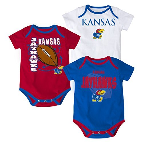 Kansas Jayhawks Baby / Infant '3 Point Spread' 3 Piece Creeper Set