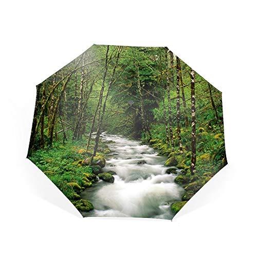 - Automatic Compact Travel Umbrella Auto Open Close Folding Strong Windproof Stream Forest Tree Green Oregon Umbrella
