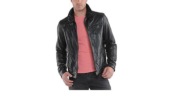 New Men Motorcycle Black Cow Leather Jacket Coat Size XS S M L XL LTC049