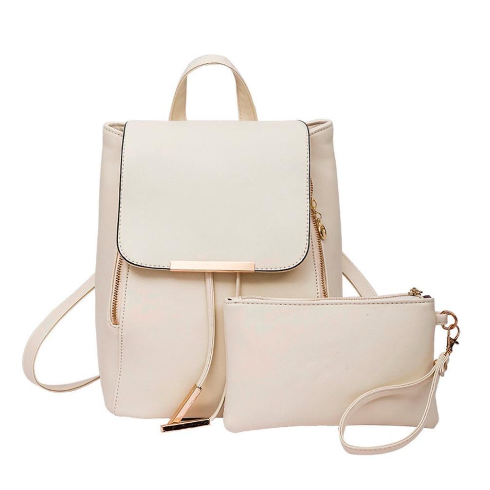 BCDshop Rucksack Fashion Women Lady Artificial Leather Satchel Backpack Handbag Clutch Bag Purse Set (Beige)