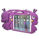 JUN-Q iPad Mini Case,Cartoon 3D Duck Case for ipad mini,Handle Portable Soft Silicone Cover Case for Apple iPad mini 3 & iPad mini 2 & iPad mini-purple