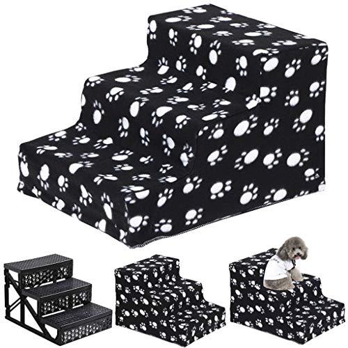 Pet Escaleras para mascotas de 3 pasos, plataforma para subir escaleras para perros y gatos, las mascotas pueden ir a la cama, escaleras lavables a prueba ...