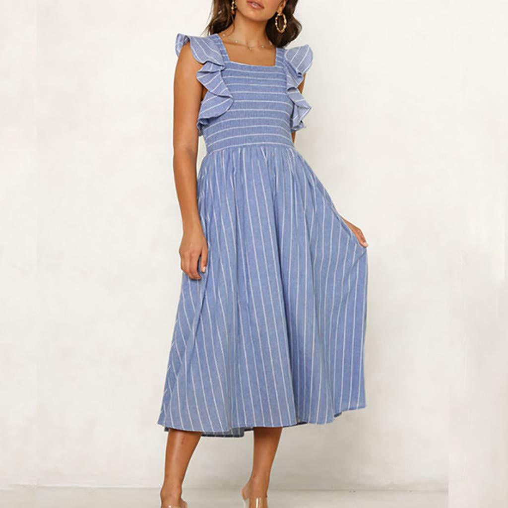 Vestido de Mujer Sin Tirantes, Vestido Larga asimétrica de Rayas y ...