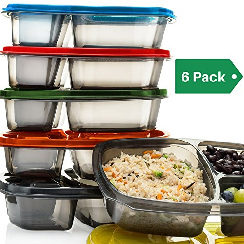 Mealports Divided Lunch Containers, 3 Compartment Meal Prep & Portion Control, Bento Lunch Box Set (6) for Kids & Adults - Stackable, Reusable, Dishwasher, Freezer, Microwave Safe, Bpa Free Plastic