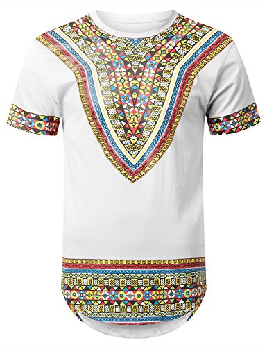 URBANCREWS Mens Hipster Hip Hop African Dashiki Graphic Top Shirts