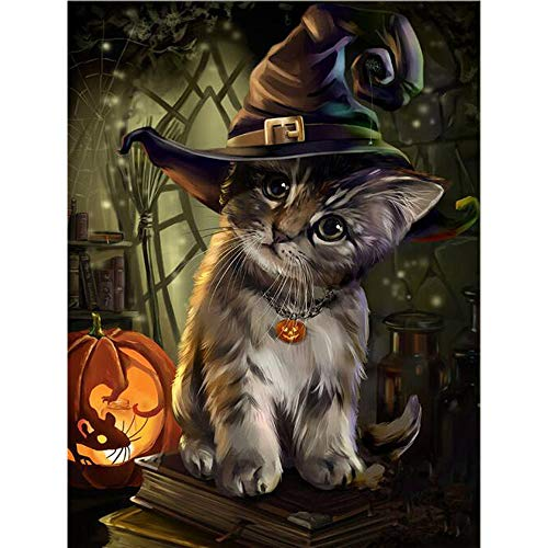 DIY 5D Diamond Painting by Number Kits, Crystal Rhinestone Embroidery Paint with Diamonds, Full Drill Canvas Art Picture for Home Wall Decor, Halloween Cat, 13.58x16.92in