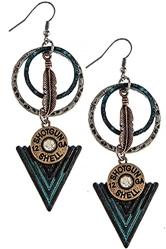 Southwestern Style Shot Gun Shell Triangle Drop 316L Surgical Steel Freedom Fashion Earrings (Lonesome Cowboy Costume)
