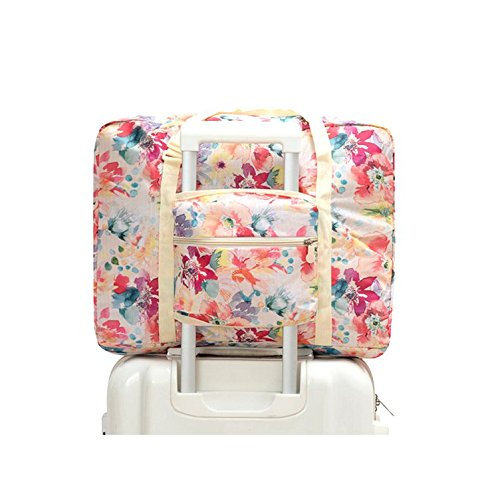 Ac.y.c Travel Duffel Bag for Women Foldable Floral Print Carry On Express Weekender Organizer For Gym Sports (White Floral) by Ac.y.c (Image #2)
