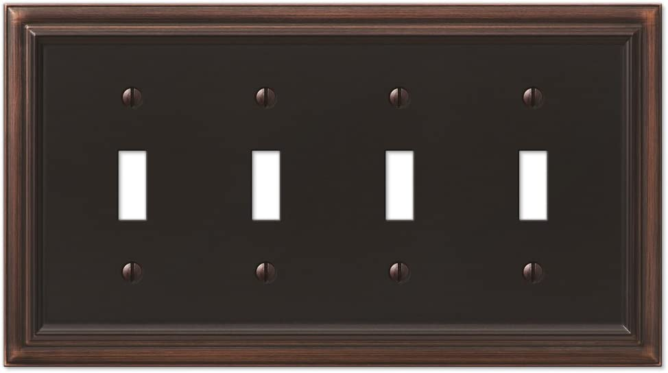 Amerelle Continental Quadruple Toggle Cast Metal Wallplate in Aged Bronze