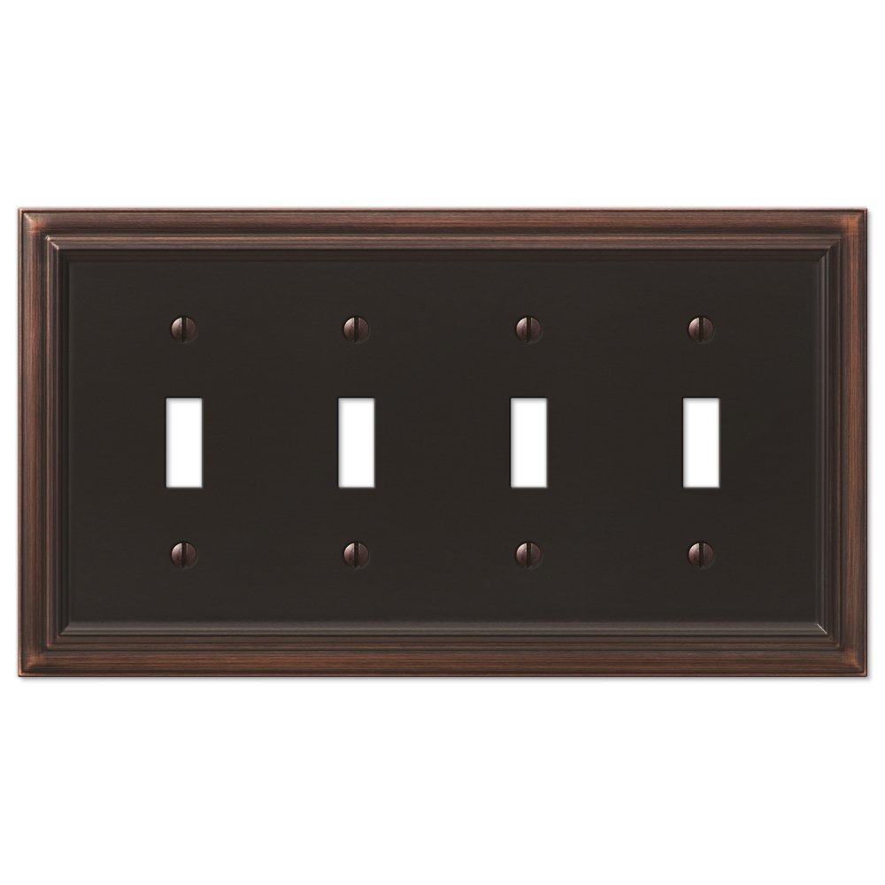 AmerTac 94T4VB Amerelle Continental Aged Bronze Cast 4 Toggle Wallplate