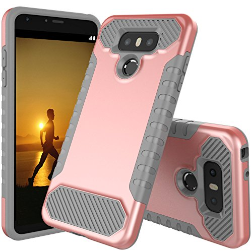 LG G6 Case, JDB Heavy Duty Defender Shock Absorption Impact Resistant Protection Hybrid with Flexible Inner Protection and Reinforced Hard Bumper Frame Case for LG G6 (2017) - Rose Gold & Gray