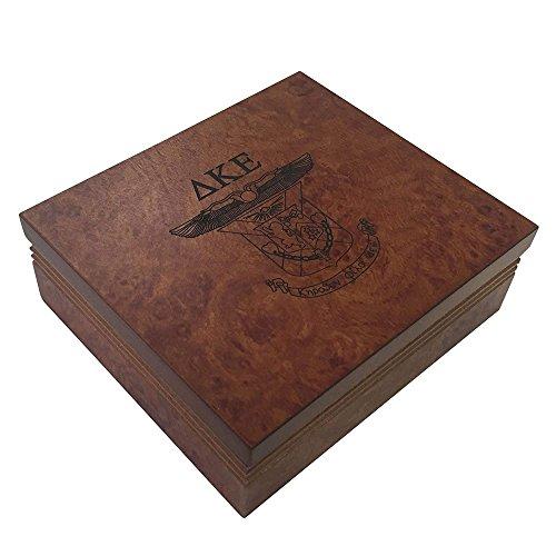 (Delta Kappa Epsilon Fraternity Wood Pin Box Marble Effect Elegantly Engraved Greek Letter DKE )