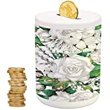 Roses Decorations,Piggy Bank Coin Bank Money Bank,Printed Ceramic Coin Bank Money Box for Cash Saving,Watercolor Artsy Design of Roses Meaning New Beginning or Farewell Innocence Symbol