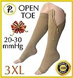 Presadee Premium Open Toe Big Tall Super Size 20-30 mmHg Zipper Compression Swelling Leg Circulation Socks (Beige, 3XL)