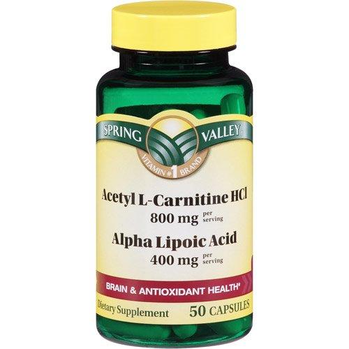 Spring Valley - ацетил L-карнитин 800 мг Плюс Альфа-липоевая кислота 400 мг, 50 капсул