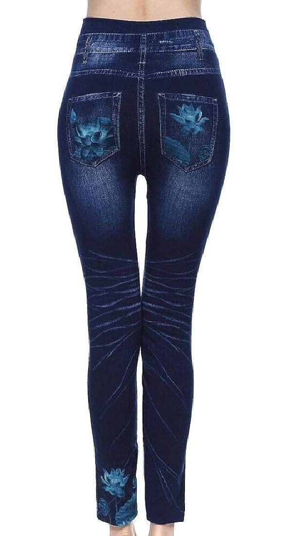 Esast Fashion Women Lace Floral Hollow Out Dark Denim Jeans Leggings Pants
